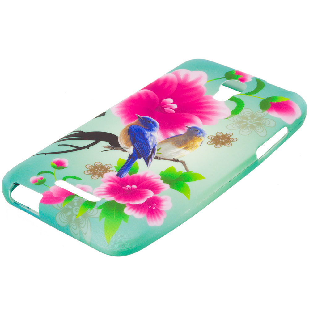 Alcatel One Touch Elevate Blue Bird Pink Flower TPU Design Soft Rubber Case Cover