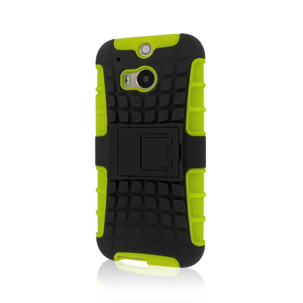HTC One M8/ M8- NEON GREEN MPERO IMPACT SR - Kickstand Case Cover