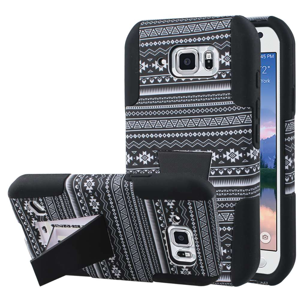 Samsung Galaxy S6 Active - Black Aztec MPERO IMPACT X - Kickstand Case Cover
