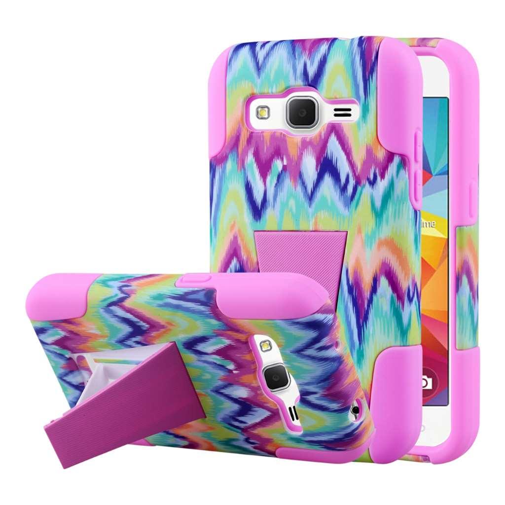 Samsung Galaxy Prevail LTE - Pink Tie Chevron MPERO IMPACT X - Stand Case
