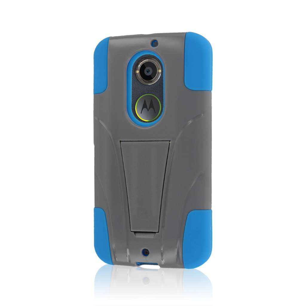 Motorola Moto X 2014 2nd Gen - Blue / Gray MPERO IMPACT X - Kickstand Case