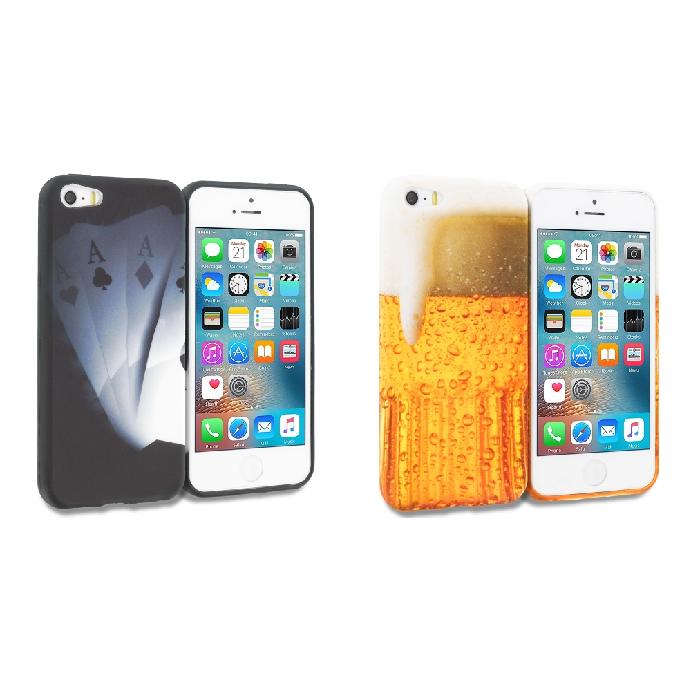 Apple iPhone 5/5S/SE Combo Pack : Ace Cards TPU Design Soft Rubber Case Cover
