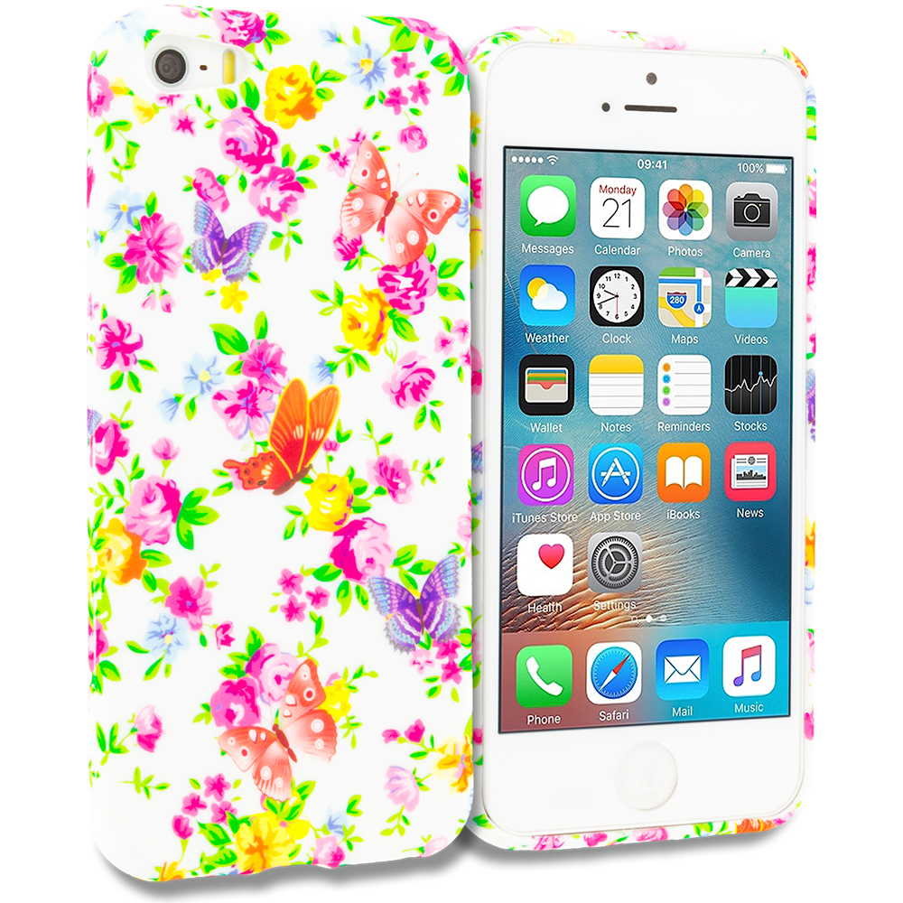 Apple iPhone 5 Colorful Flower TPU Design Soft Rubber Case Cover