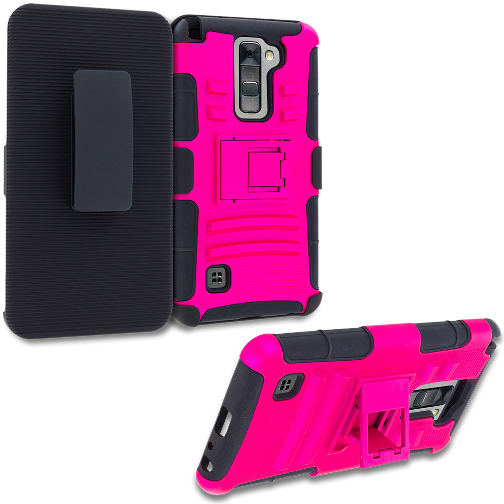 LG G Stylo 2 LS775 Hot Pink Hybrid Heavy Duty Rugged Case Cover with Belt Clip Holster