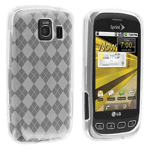 LG Optimus S LS670 / U / V Clear Checkered TPU Rubber Skin Case Cover