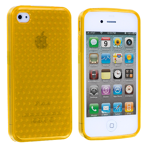 Apple iPhone 4 / 4S Yellow Diamond TPU Rubber Skin Case Cover