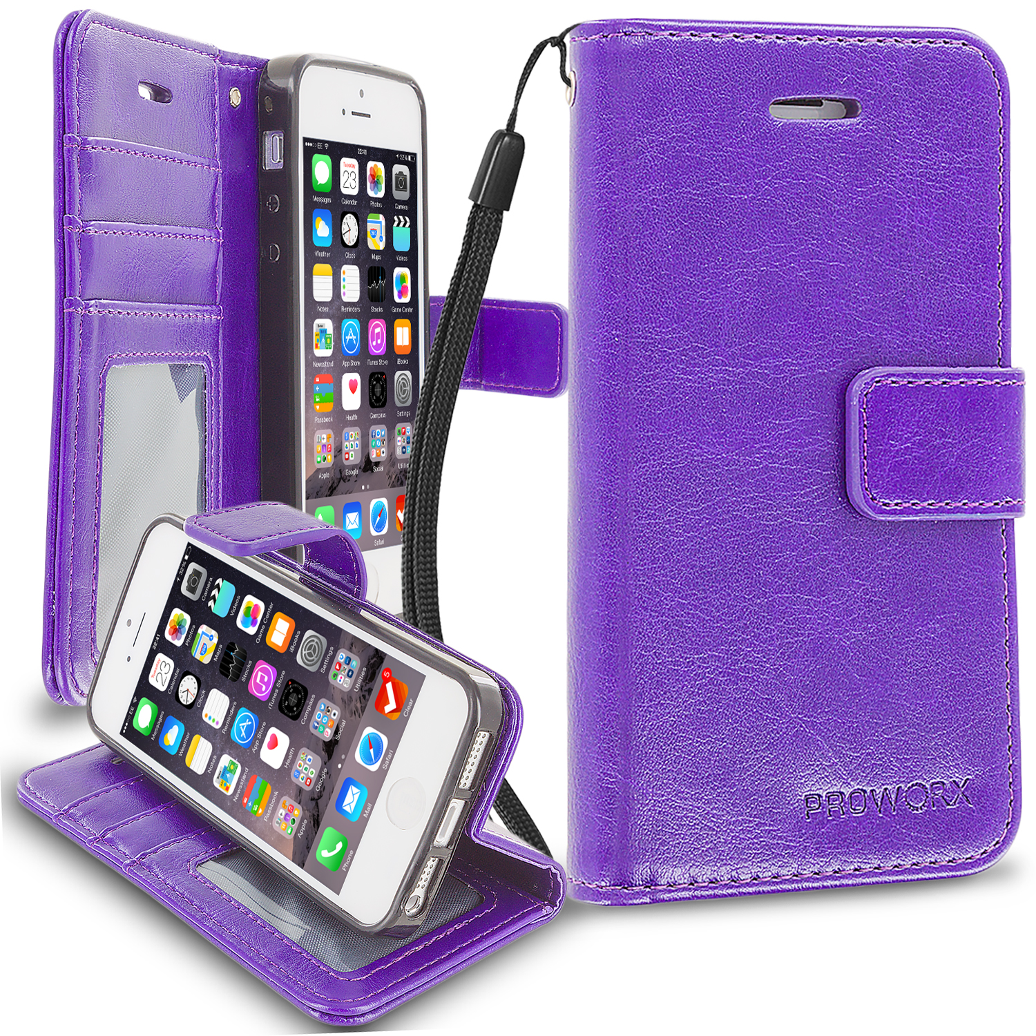 Apple iPhone 5/5S/SE Purple ProWorx Wallet Case Luxury PU Leather Case Cover With Card Slots & Stand