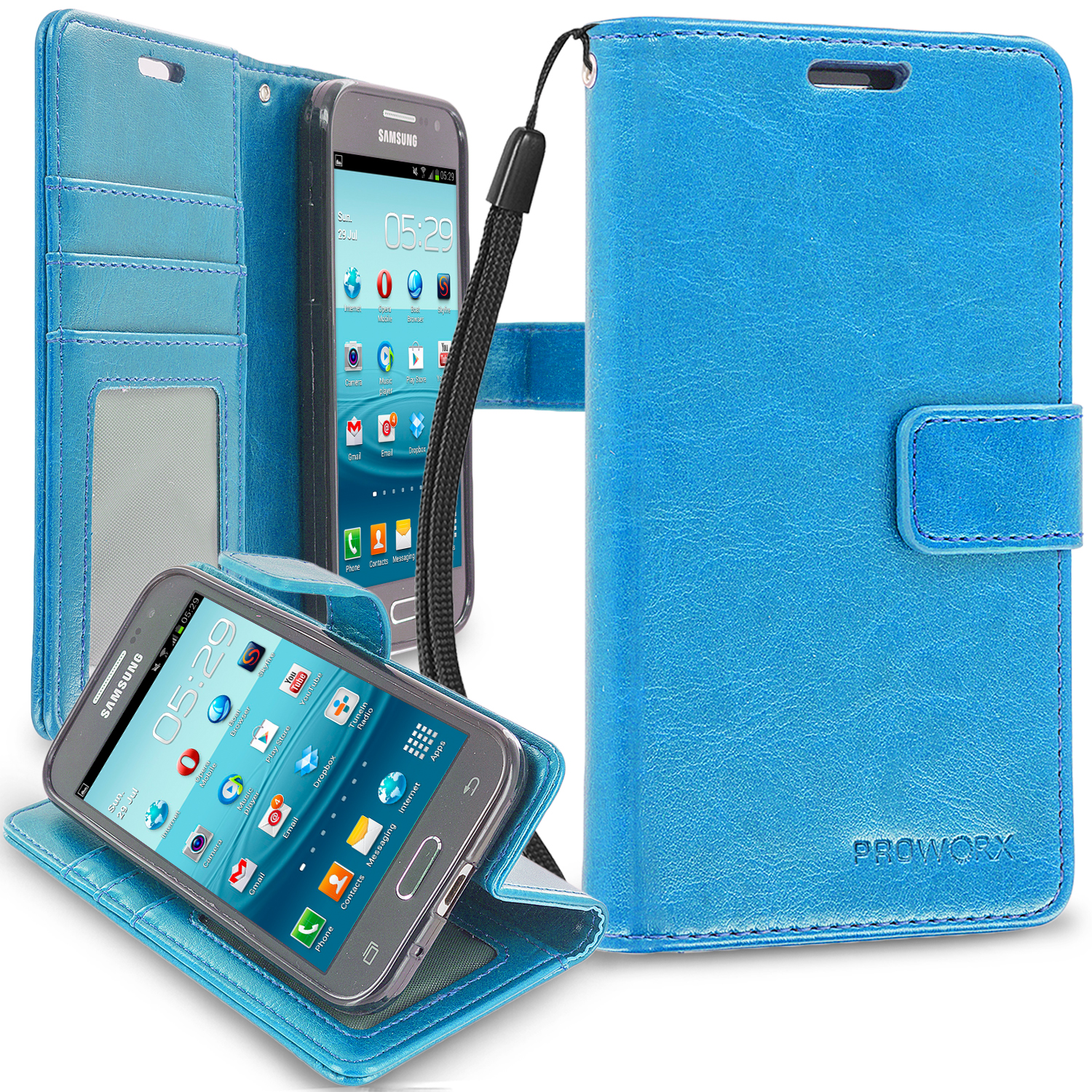 Samsung Galaxy Prevail LTE Core Prime G360P Baby Blue ProWorx Wallet Case Luxury PU Leather Case Cover With Card Slots & Stand