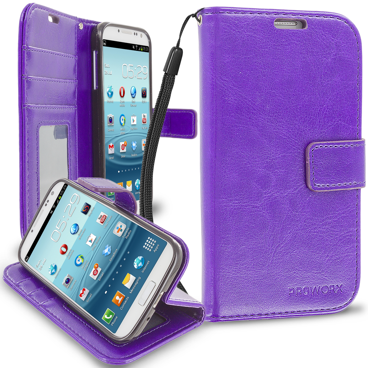 Samsung Galaxy S4 Purple ProWorx Wallet Case Luxury PU Leather Case Cover With Card Slots & Stand
