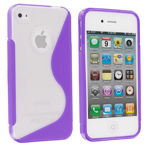 Apple iPhone 4 / 4S 2 in 1 Combo Bundle Pack - Purple / Pink S-Line TPU Rubber Skin Case Cover : Color Clear / Purple S-Line