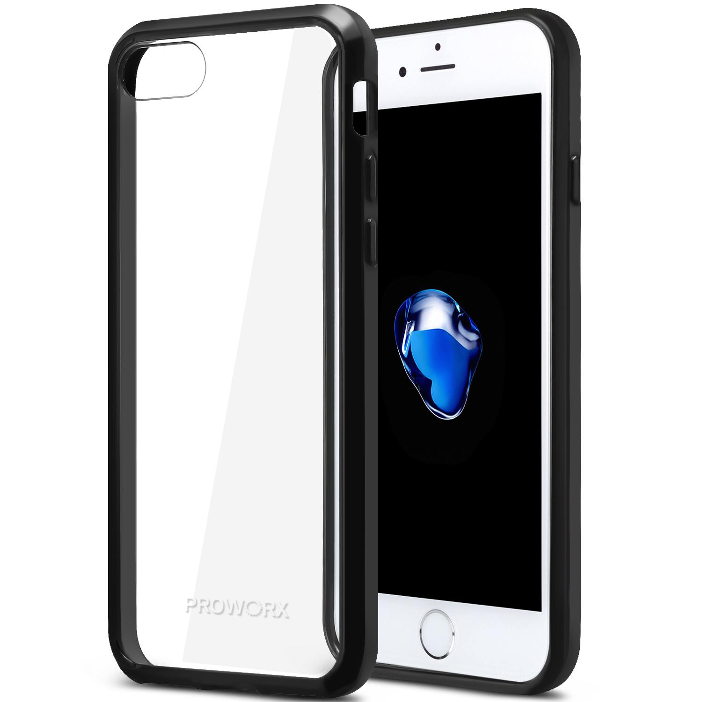 Apple iPhone 6 Plus 6S Plus (5.5) Black ProWorx Shock Absorption Case Bumper TPU & Anti-Scratch Clear Back Cover
