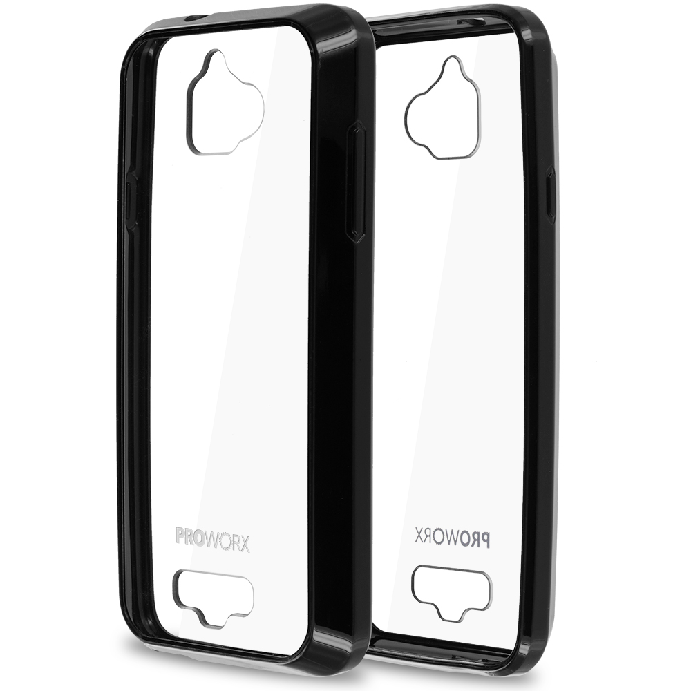 Coolpad Catalyst Black ProWorx Shock Absorption Case Bumper TPU & Anti-Scratch Clear Back Cover