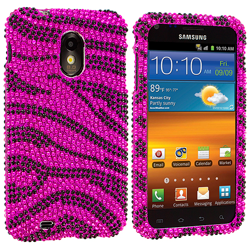 Samsung Epic Touch 4G D710 Sprint Galaxy S2 Black / Hot Pink Zebra Bling Rhinestone Case Cover