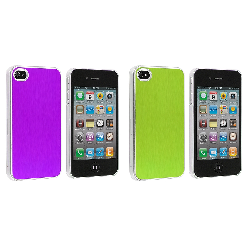 Apple iPhone 4 / 4S 2 in 1 Combo Bundle Pack - Green Purple Aluminium Brushed Aluminum Metal Hard Case Cover
