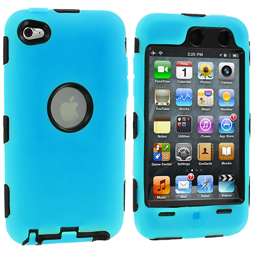 Apple iPod Touch 4th Generation Baby Blue Deluxe Hybrid Deluxe Hard/Soft Case Cover