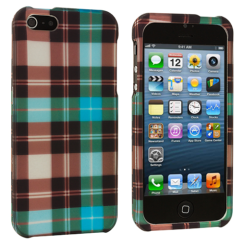 Apple iPhone 5/5S/SE 2 in 1 Combo Bundle Pack - Blue Pink Checkered Hard Rubberized Design Case Cover : Color Blue Checkered