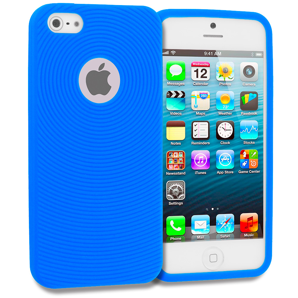 Apple iPhone 5/5S/SE Baby Blue Circles Silicone Soft Skin Case Cover