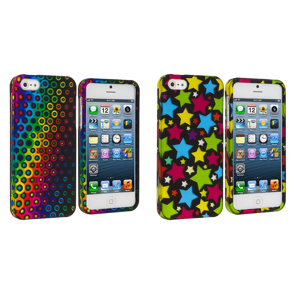 Apple iPhone 5/5S/SE Combo Pack : Rainbow Dots Hard Rubberized Design Case Cover