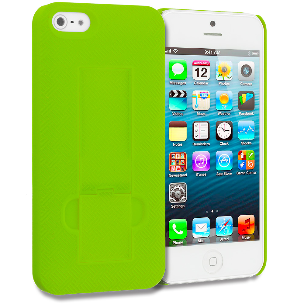 Apple iPhone 5/5S/SE Combo Pack : Hot Pink Grid Texture w/ Stand Hard Rubberized Back Cover Case : Color Green Grid Texture w/ Stand