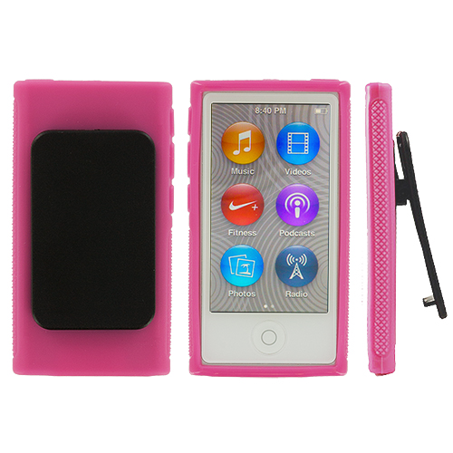 Apple iPod Nano 7th Generation Hot Pink Belt Clip TPU Rubber Skin Case Cover