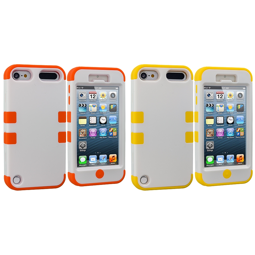 Apple iPod Touch 5th 6th Generation 2 in 1 Combo Bundle Pack - Orange / Yellow Hybrid Tuff Hard/Soft 3-Piece Case Cover