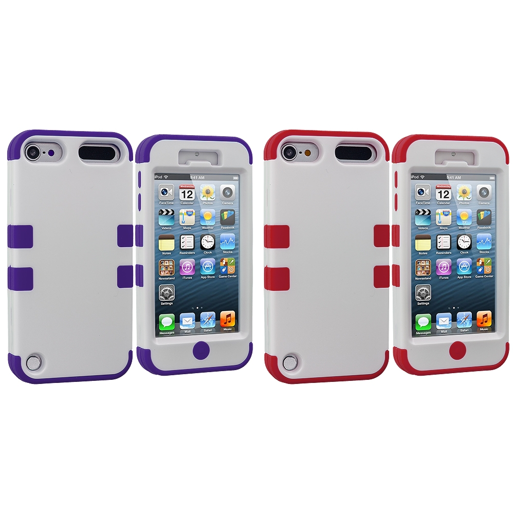 Apple iPod Touch 5th 6th Generation 2 in 1 Combo Bundle Pack - Purple / Red Hybrid Tuff Hard/Soft 3-Piece Case Cover