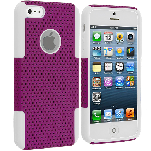 Apple iPhone 5/5S/SE Combo Pack : White / Purple Hybrid Mesh Hard/Soft Case Cover : Color White / Purple