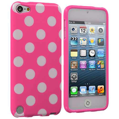 Apple iPod Touch 5th 6th Generation Light Pink / White TPU Polka Dot Skin Case Cover