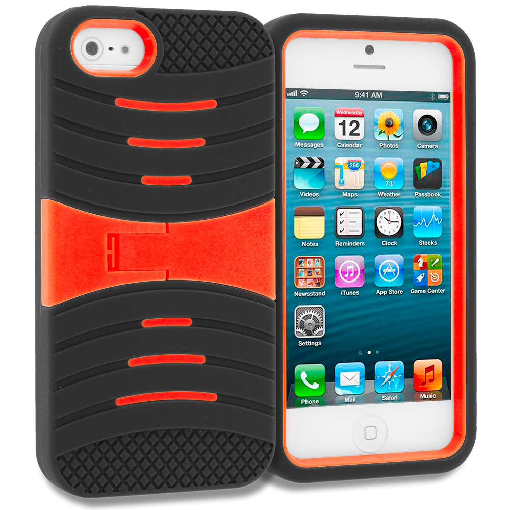 Apple iPhone 5/5S/SE Combo Pack : Black / Orange Hybrid Hard/Silicone Case Cover with Stand : Color Black / Orange