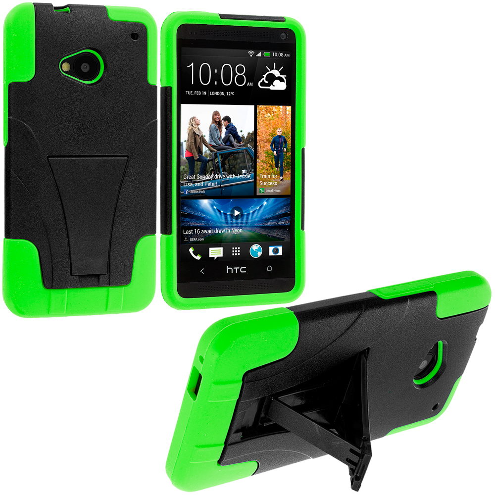 HTC One M7 Black / Neon Green Hybrid Hard/Silicone Case Cover with Stand