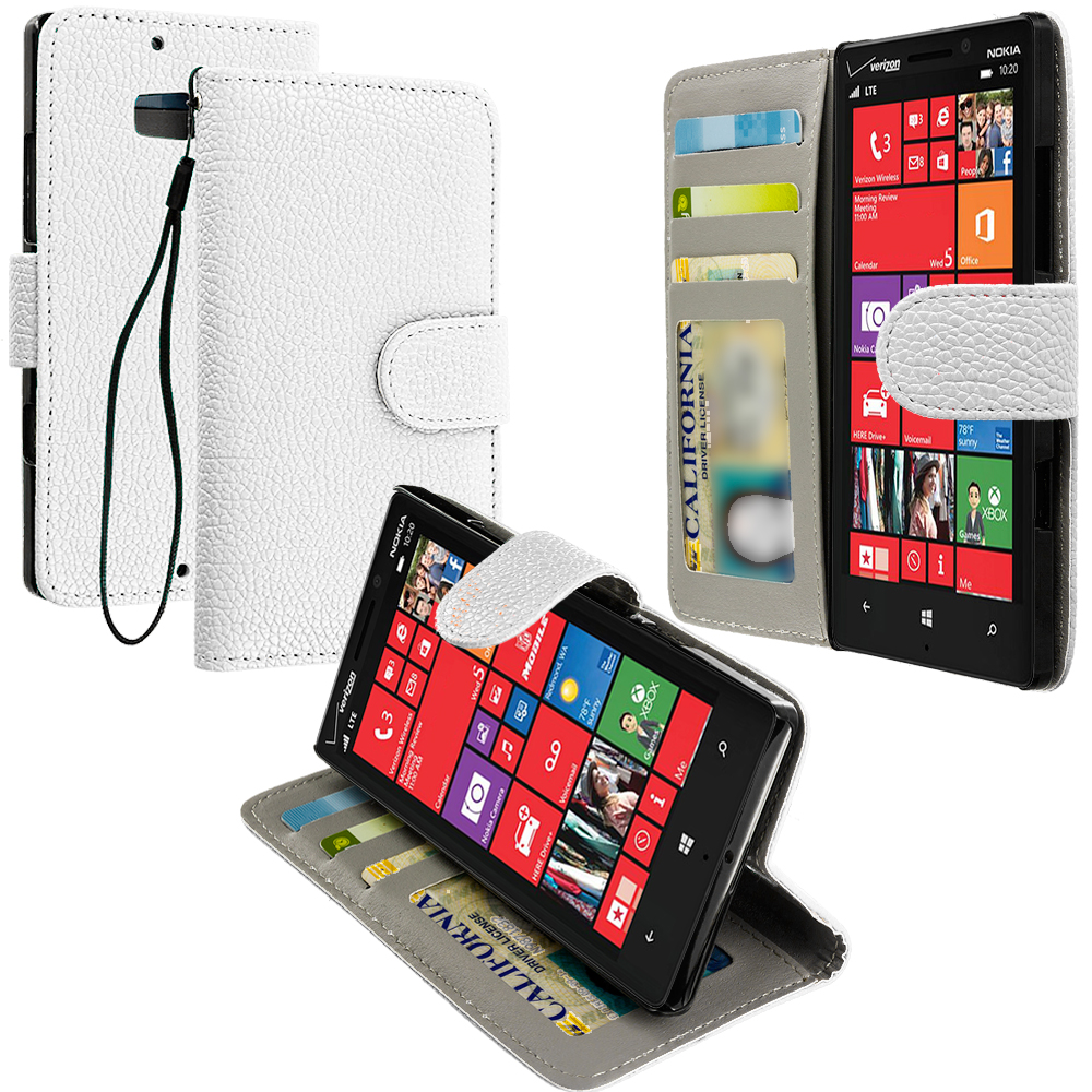 Nokia Lumia 929 Icon White Leather Wallet Pouch Case Cover with Slots