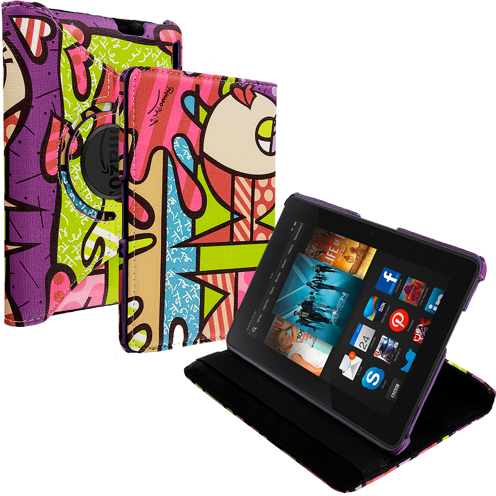 Amazon Kindle Fire HDX 8.9 Graffiti 360 Rotating Case Cover Pouch Stand