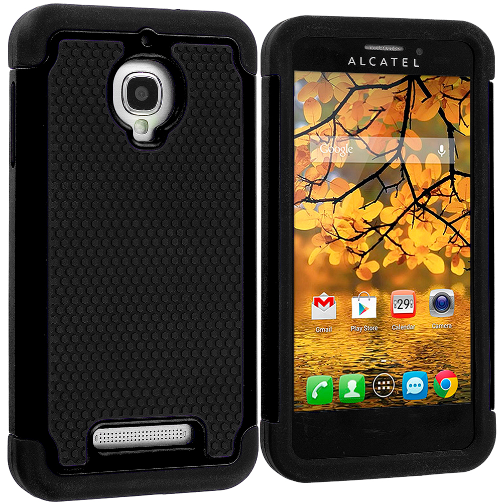 Alcatel One Touch Fierce 7024W Black / Black Hybrid Rugged Hard/Soft Case Cover