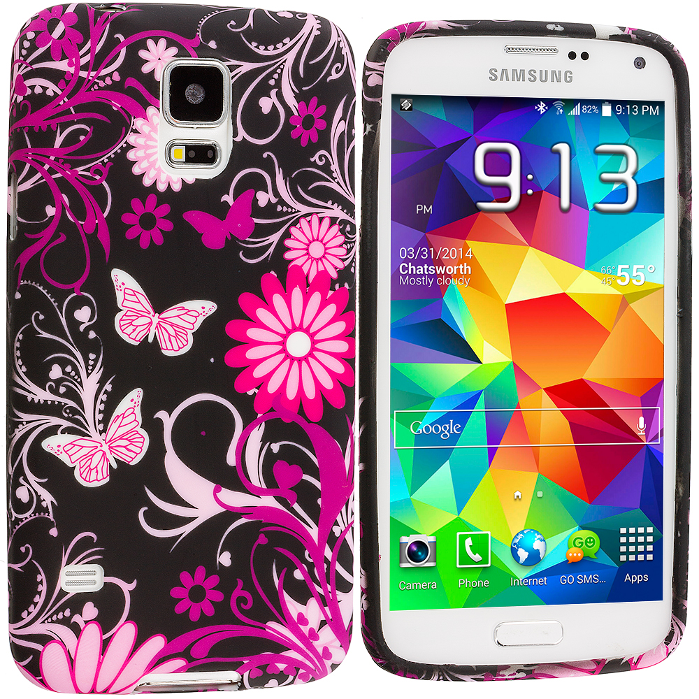 Samsung Galaxy S5 Pink Butterfly Flower TPU Design Soft Case Cover