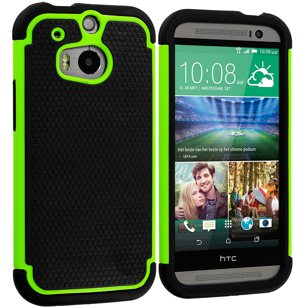 HTC One M8 Black / Neon Green Hybrid Rugged Hard/Soft Case Cover