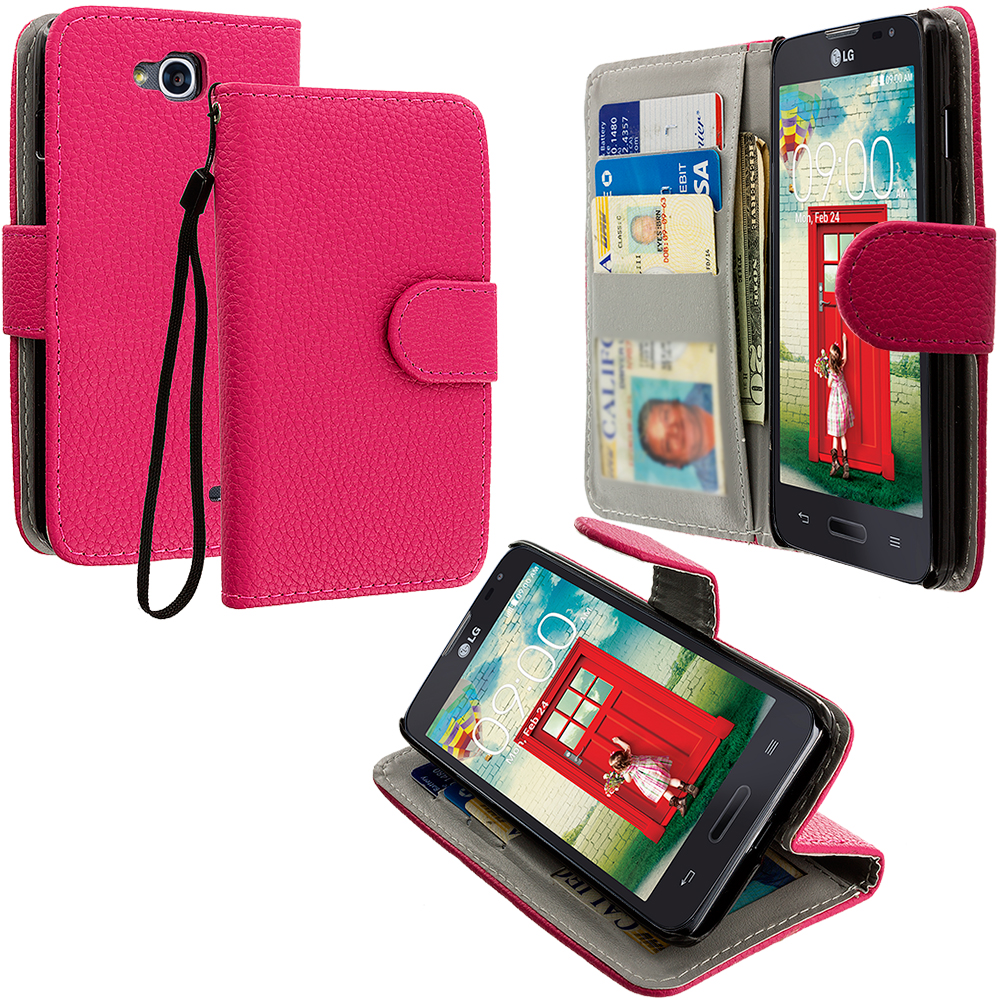 LG Optimus L90 Hot Pink Leather Wallet Pouch Case Cover with Slots