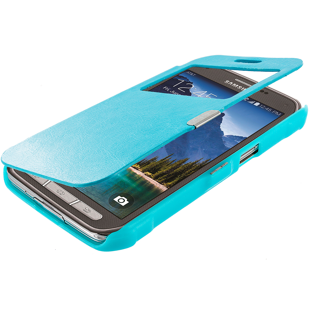 Samsung Galaxy S5 Active Baby Blue (Open) Magnetic Wallet Case Cover Pouch