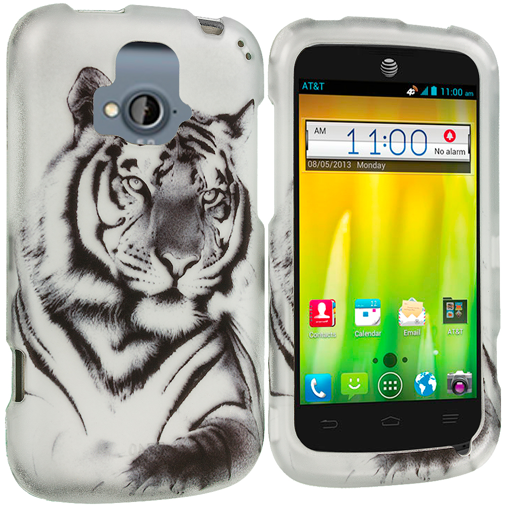 ZTE Radiant Tiger 2D Hard Rubberized Design Case Cover