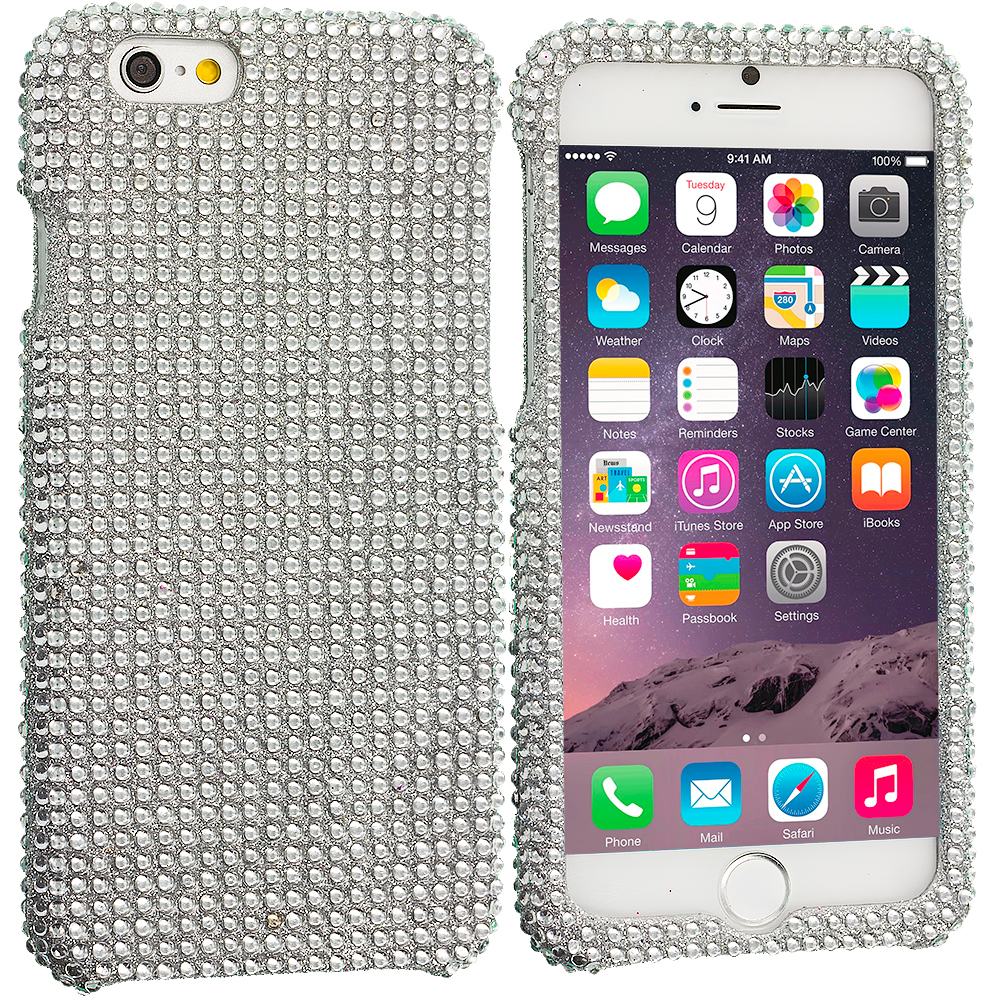 Apple iPhone 6 Plus 6S Plus (5.5) Silver Bling Rhinestone Case Cover