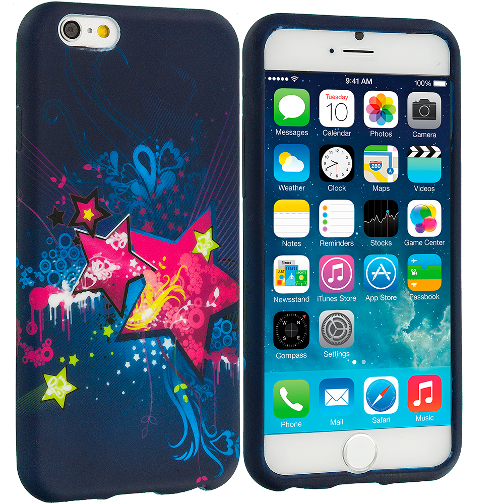 Apple iPhone 6 Plus 6S Plus (5.5) Pink Blue Star TPU Design Soft Rubber Case Cover