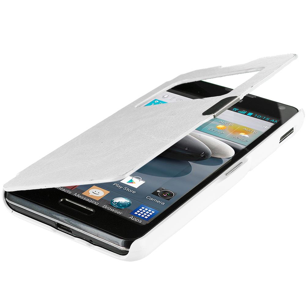 LG Optimus F6 D500 White (Open) Magnetic Flip Wallet Case Cover Pouch