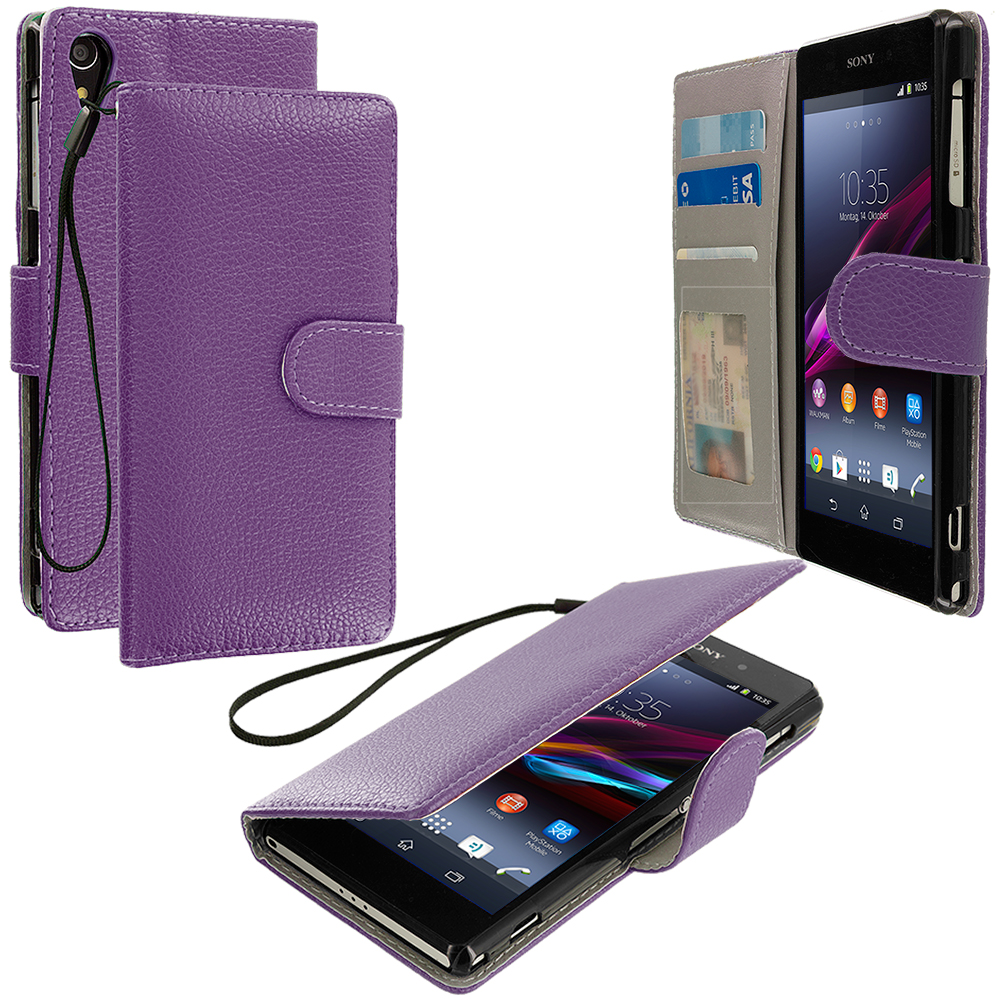 Sony Xperia Z2 Purple Leather Wallet Pouch Case Cover with Slots