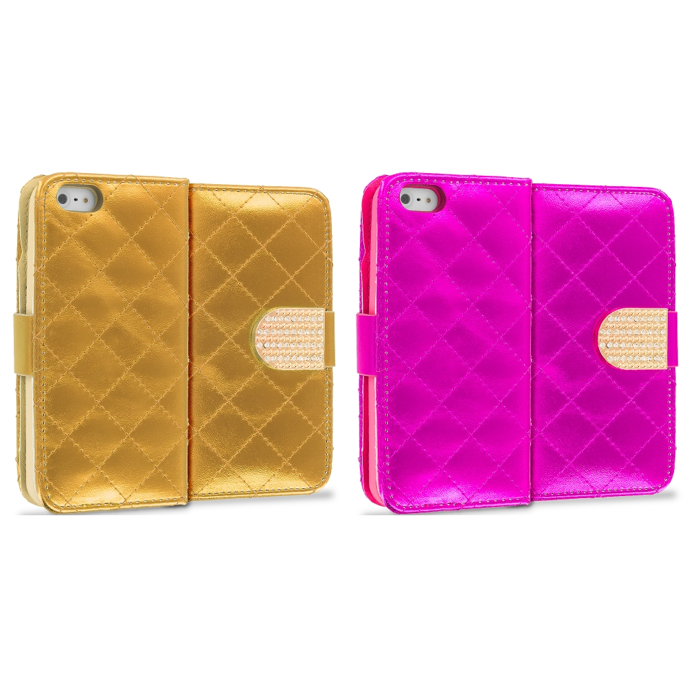 Apple iPhone 5/5S/SE 2 in 1 Combo Bundle Pack - Hot Pink Gold Luxury Wallet Diamond Design Case Cover With Slots