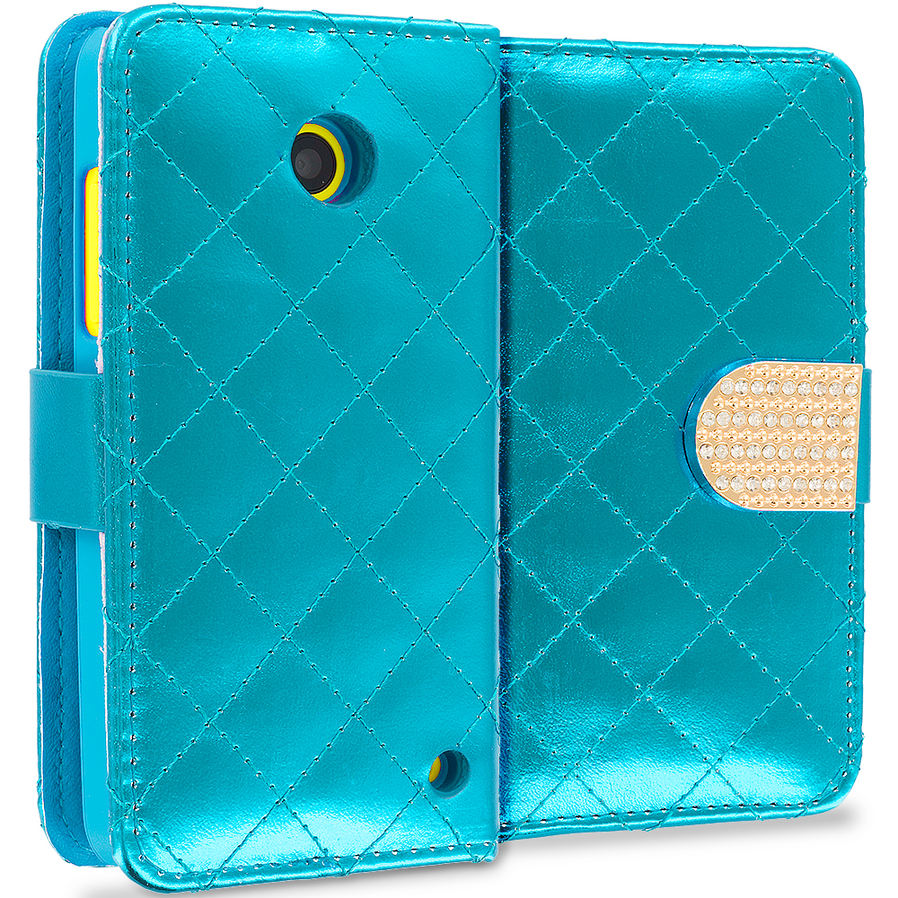 Nokia Lumia 530 Teal Luxury Wallet Diamond Design Case Cover With Slots