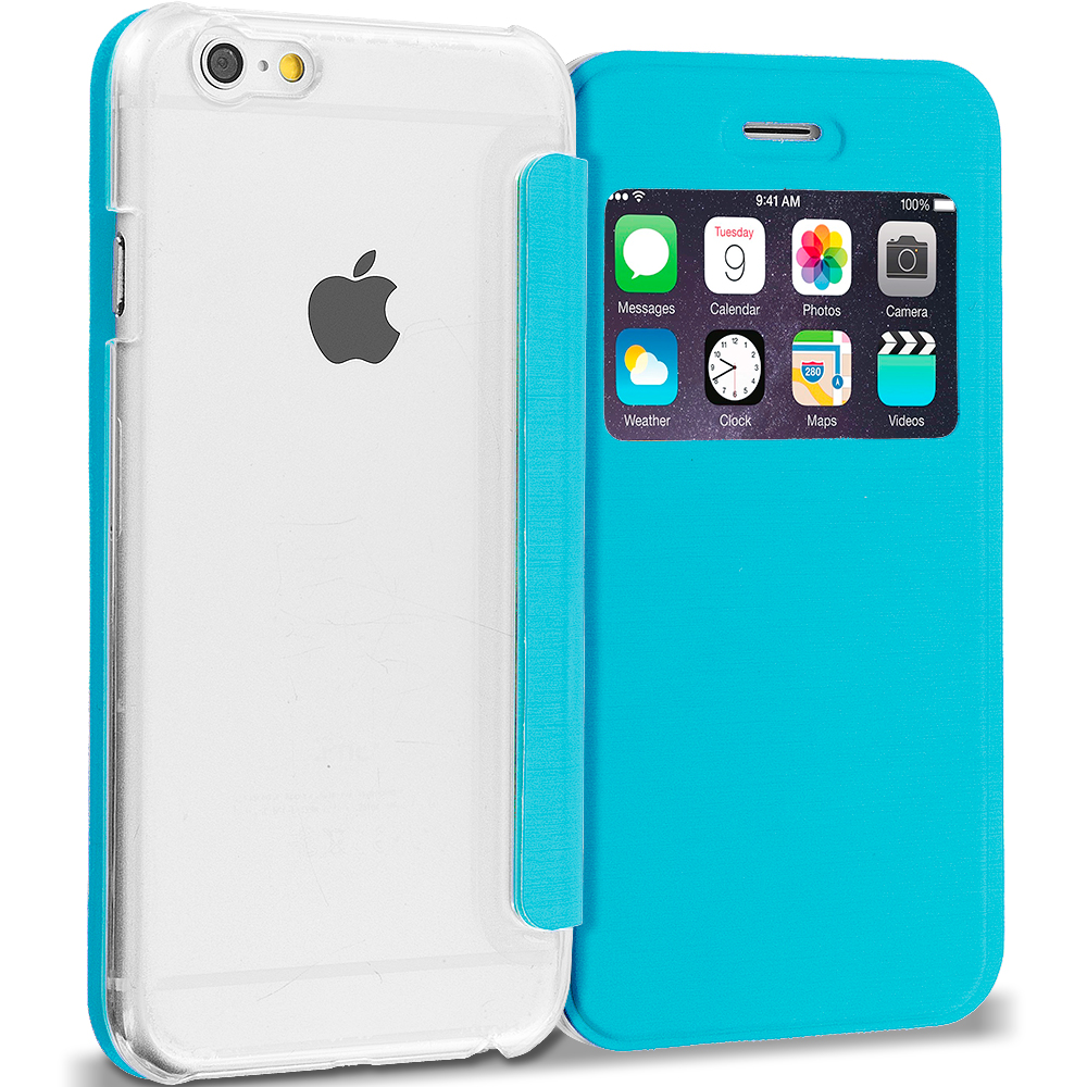Apple iPhone 6 Plus 6S Plus (5.5) Teal Slim Hard Wallet Flip Case Cover Clear Back With Window