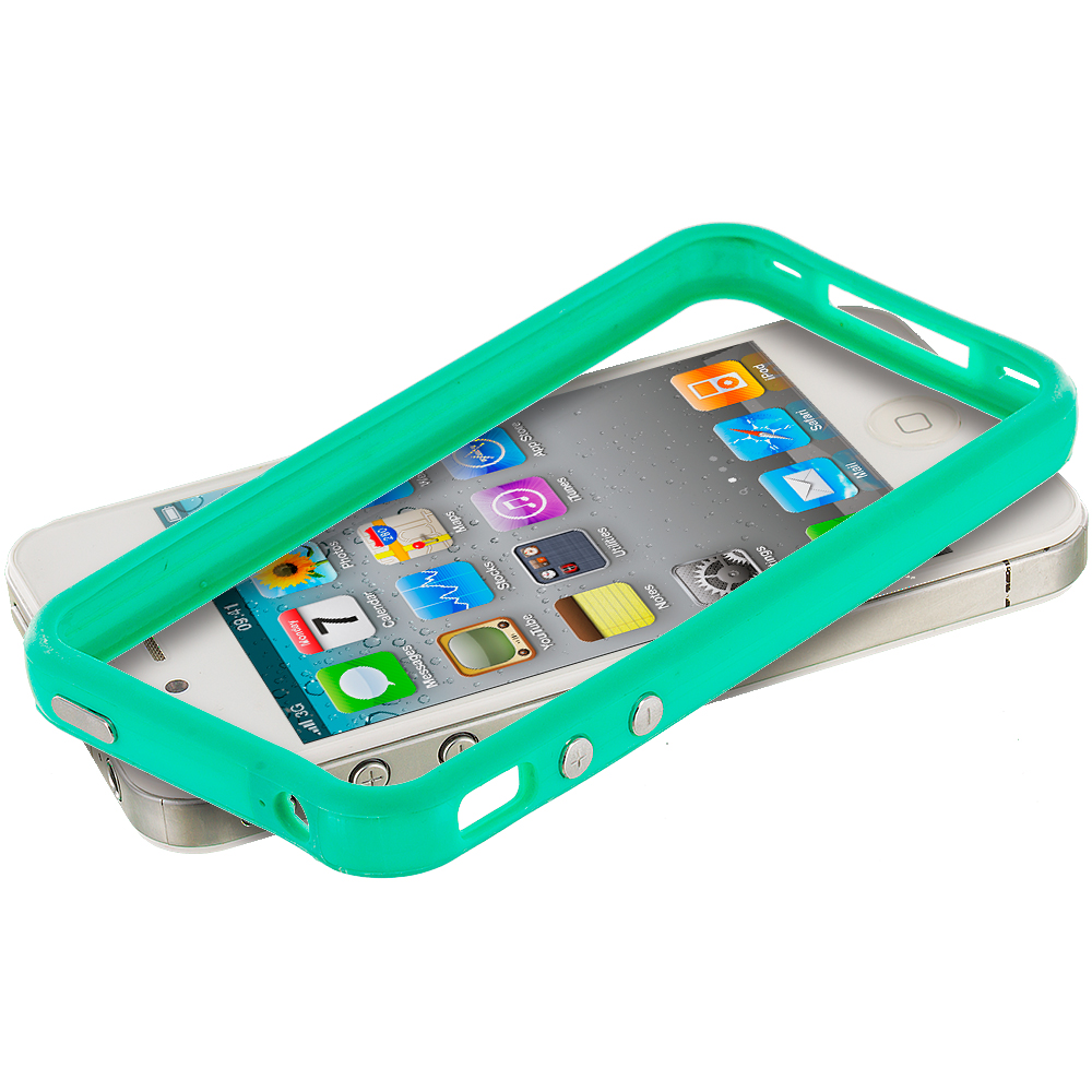 Apple iPhone 5/5S/SE Combo Pack : Light Pink TPU Bumper Frame Case Cover : Color Teal
