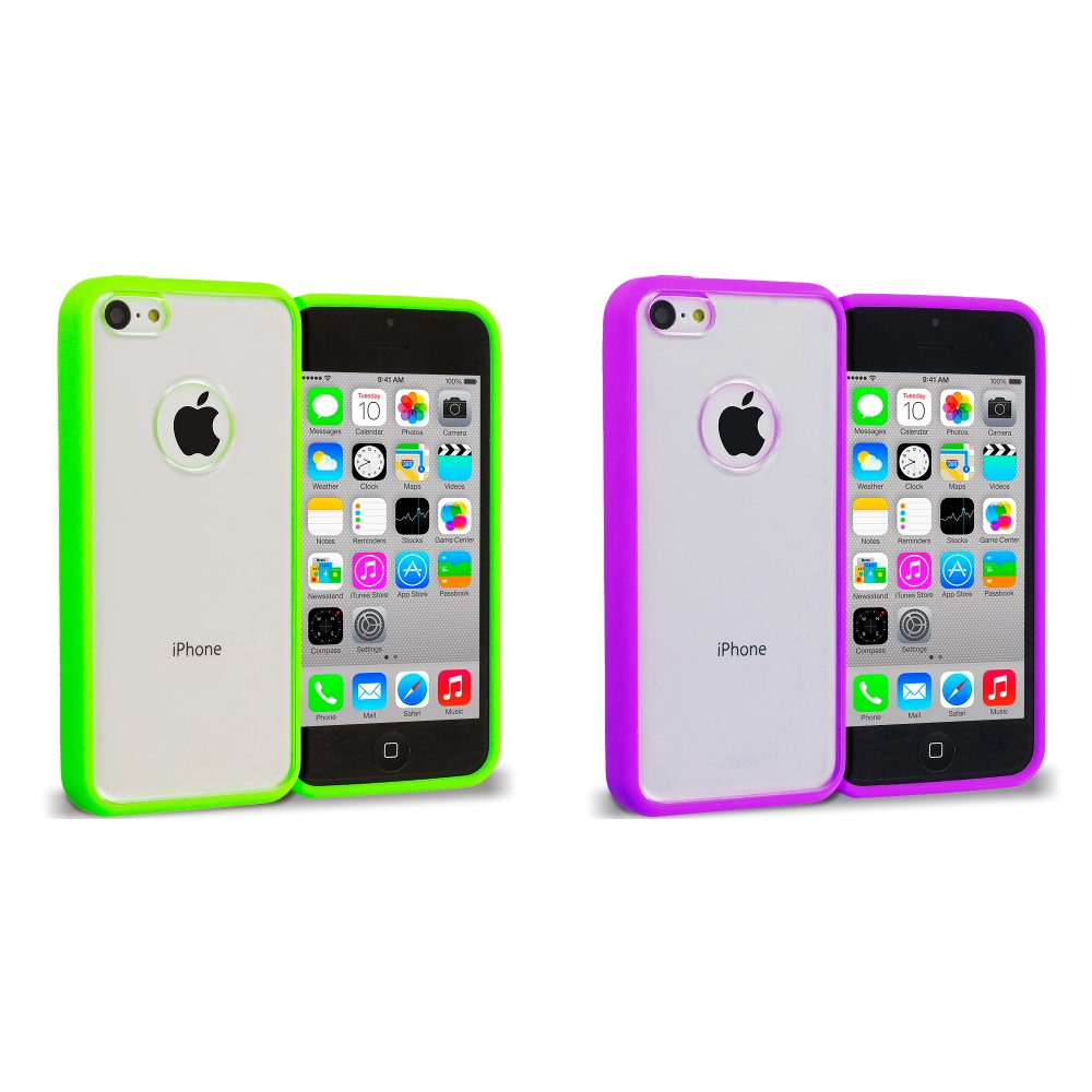 Apple iPhone 5C 2 in 1 Combo Bundle Pack - Neon Green Purple TPU Plastic Hybrid Case Cover
