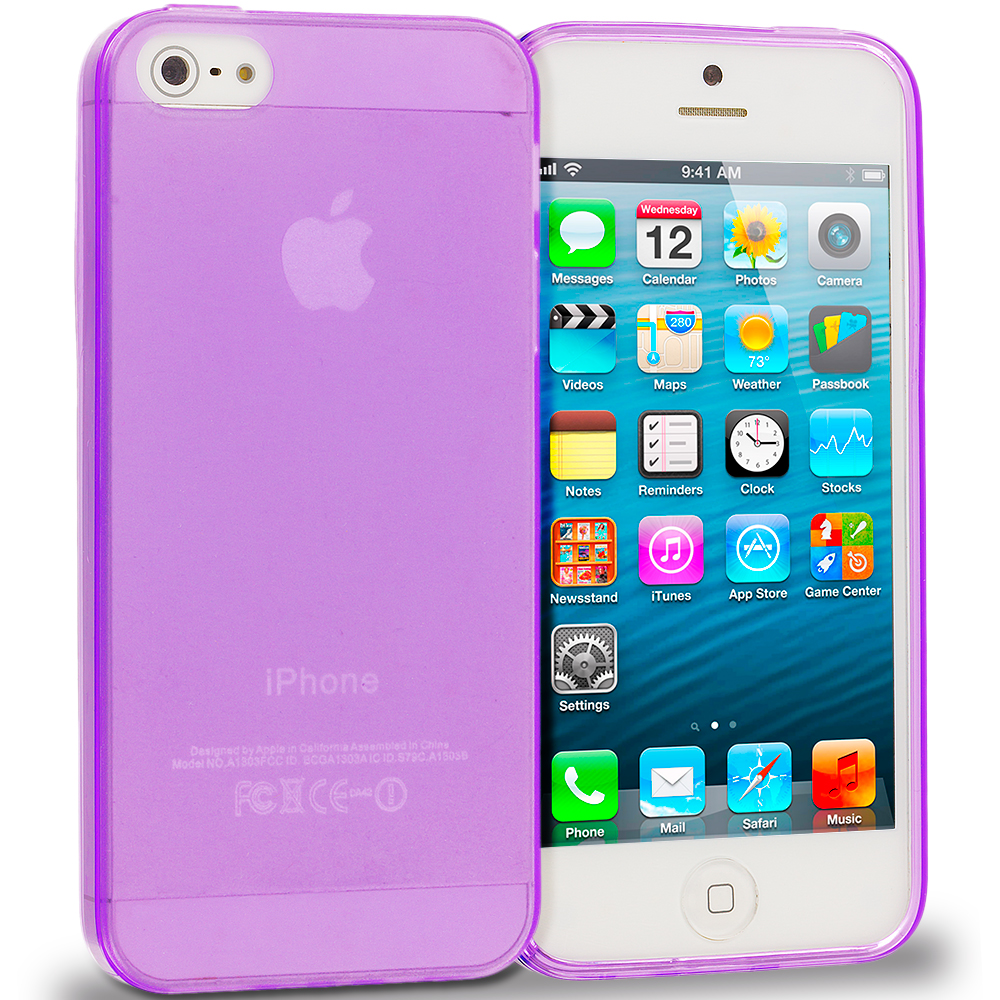 Apple iPhone 5/5S/SE Purple TPU Rubber Skin Case Cover