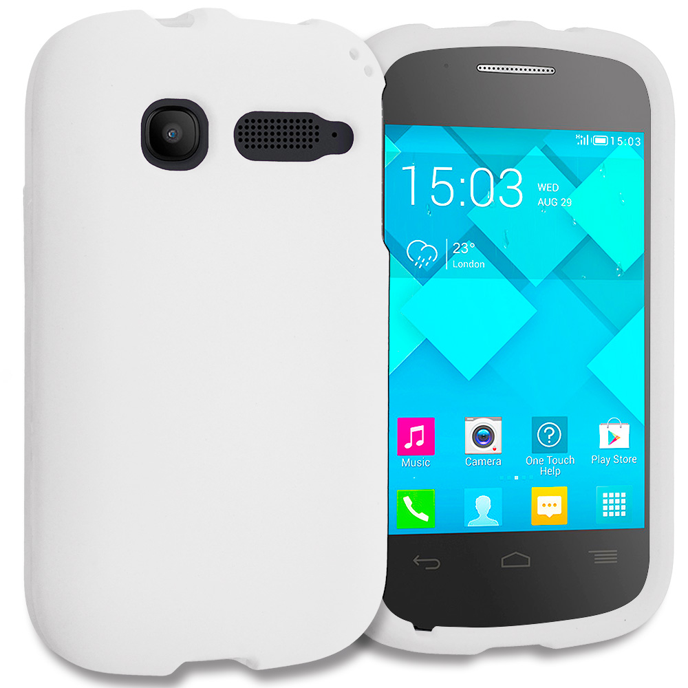 Alcatel One Touch Pop C1 White Hard Rubberized Case Cover