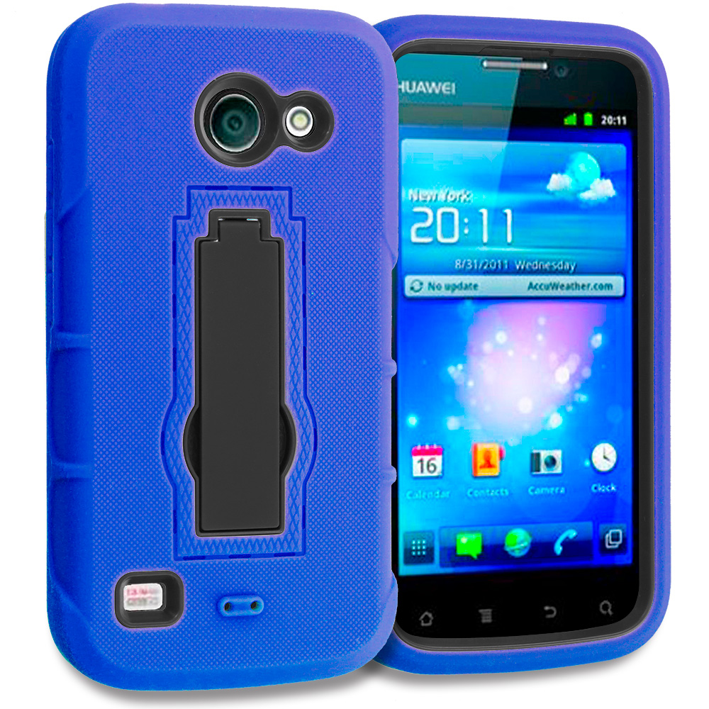 Huawei Tribute Fusion 3 Y536A1 Blue / Black Hybrid Heavy Duty Hard Soft Case Cover with Kickstand